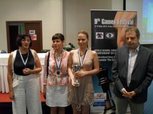 IM Masha Klinova, WIM Ljilja Drljevic and WIM Sandra Djukic with Theodoros Tsorbatzoglou, Organizing Committee